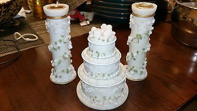 Vintage Porcelain Wedding Cake Trinket Box and Candle Holders Set