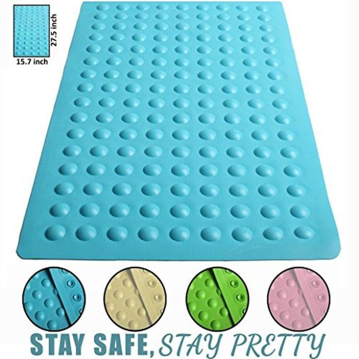 Brooklyn Ice 15.7x27.5-Inch Anti Slip Suction Bath Mat, Blue-fast delivery