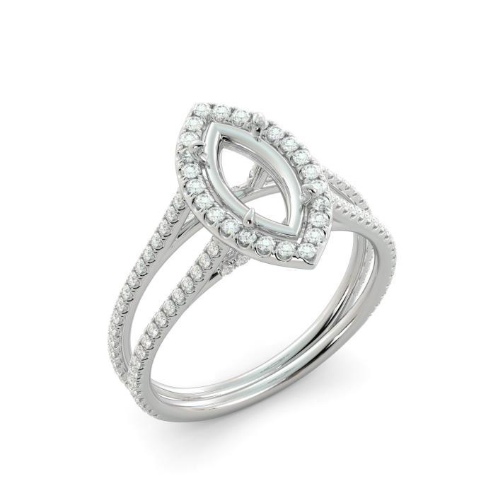 Marquise Cut Round Diamond Halo Split Shank Semi Mount Engagement Ring 18k WGold