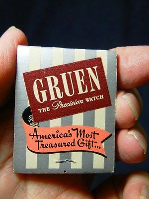VINTAGE ADVERTISING MATCHES MATCHBOOK GRUEN WATCHES - IMMERMAN JEWELRY