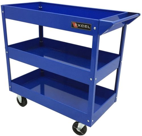 Excel Steel Tool Utility Cart Blue Rolling Storage Box Heavy Duty Portable New