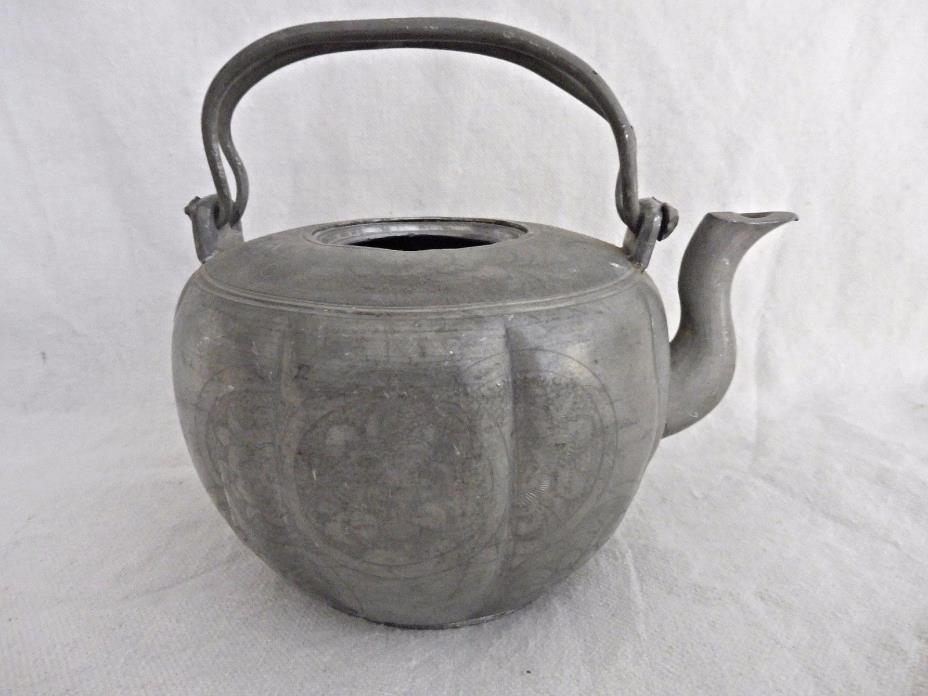 19TH CENTURY ANTIQUE CHINESE PEWTER TEAPOT