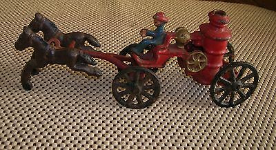vintage Horse Drawn pumper fire wagon  cast iron toy