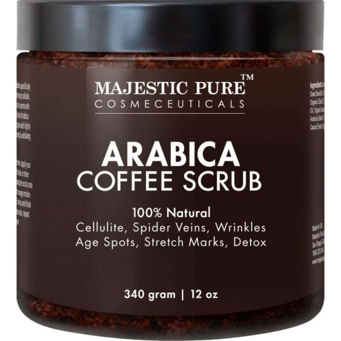 Majestic Pure Arabica Coffee Scrub, 12 Oz - Natural Body Scrub for Skin Care