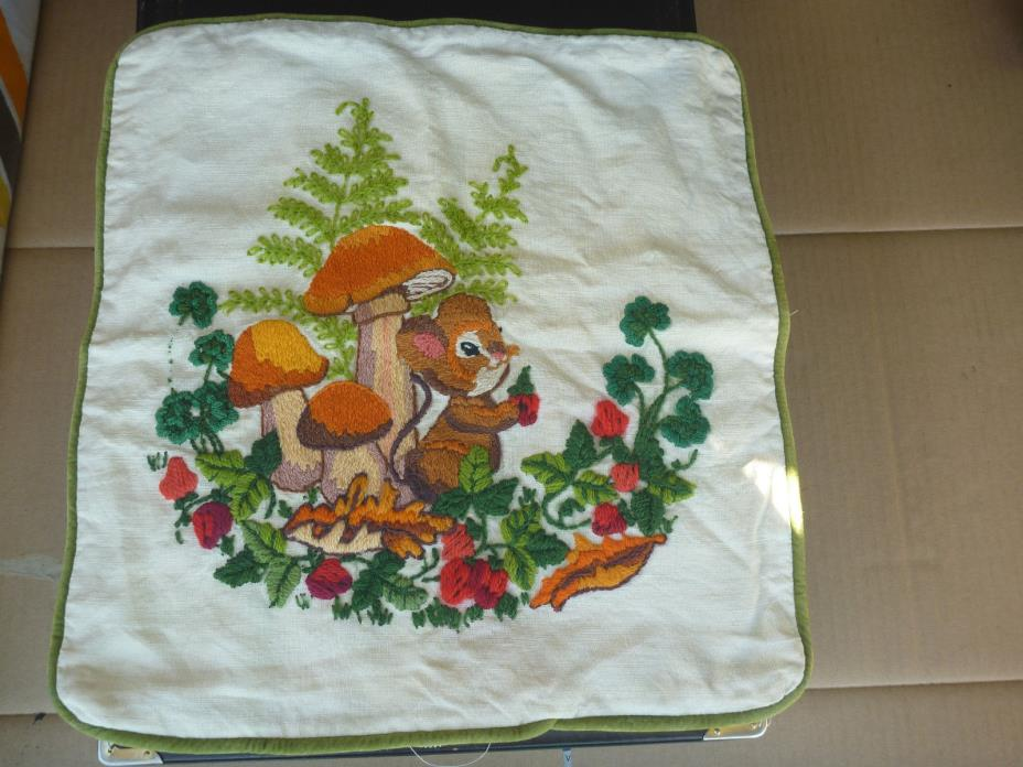 Vintage crewel  Mushrooms Flowers Squirrel  Finished Embroidery Pillow on linen
