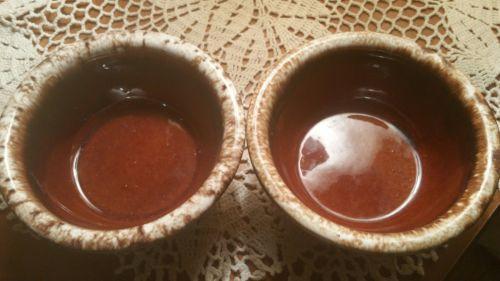 Vintage Hull pottery stoneware drip soup bowls
