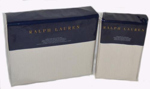 RALPH LAUREN Dune Lane Westlake Grey Stripe QUEEN FITTED SHEET PILLOWCASES SET