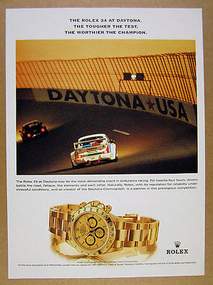 2000 Rolex Cosmograph Daytona gold watch dial porsche race car photo print Ad