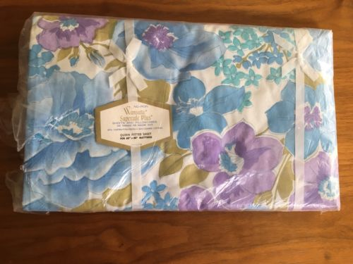 Vintage WAMSUTTA QUEEN Fitted Sheet Purple Blue Flower Victoria Rose