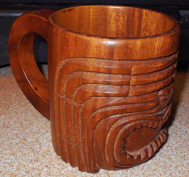Vintage Hawaiian Tiki Mug Carved Wood