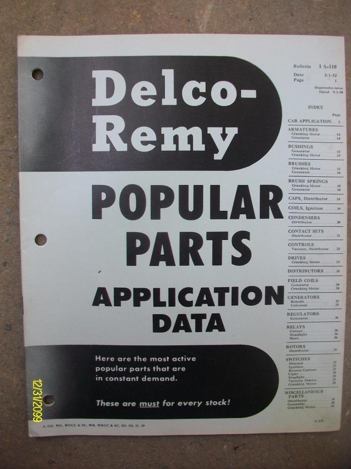 1952 Vintage Original Delco Remy Popular Parts Application Data Booklet