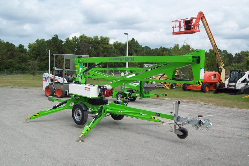 Nifty TM34H 40 Ft Towable Boom Lift w/Hydraulic Outriggers,Lowest Priced in USA