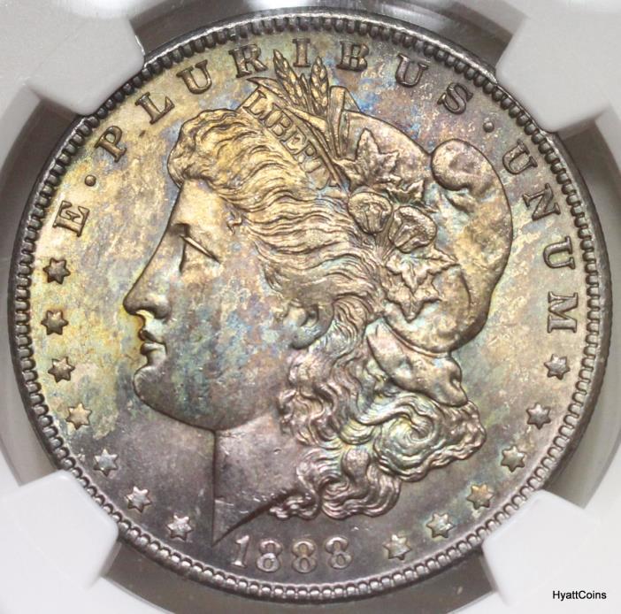 1888 Morgan Silver Dollar NGC MS64 Rainbow Toned