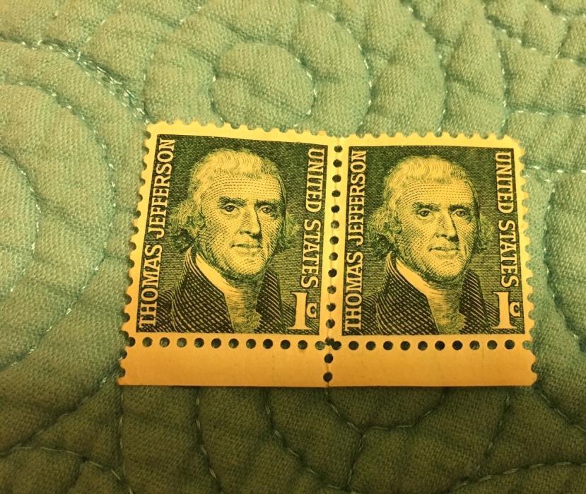 2 - 1968 USA - Thomas Jefferson 1 Cent Stamps unused