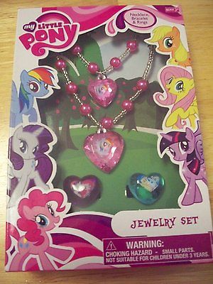 MY LITTLE PONY  NEW!!!! JEWELRY SET OF A BRACLET, NECKLACE & 2 RINGS BY HASBRO
