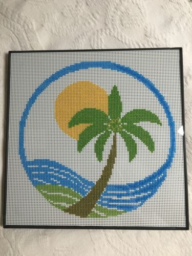 Completed Palm Tree Wave Cross Stitch