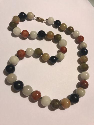 Antique Vintage Deco Chinese Multi Jade Jadeite Bead Necklace!