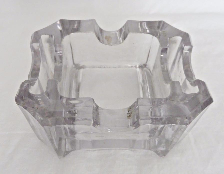 HEAVY GLASS BUSINESS CARD HOLDER - VINTAGE