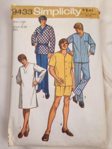 Vintage Simplicity Mens PJ's 9433 Large