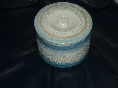 Antique Stoneware Butter Crock blue white glaze decorated with lid
