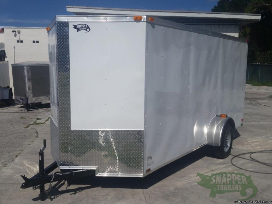 5 x 8 foot White Ext. Motorcycle Hauler w/2ft Side Door & Single 2,990lbs Axle...