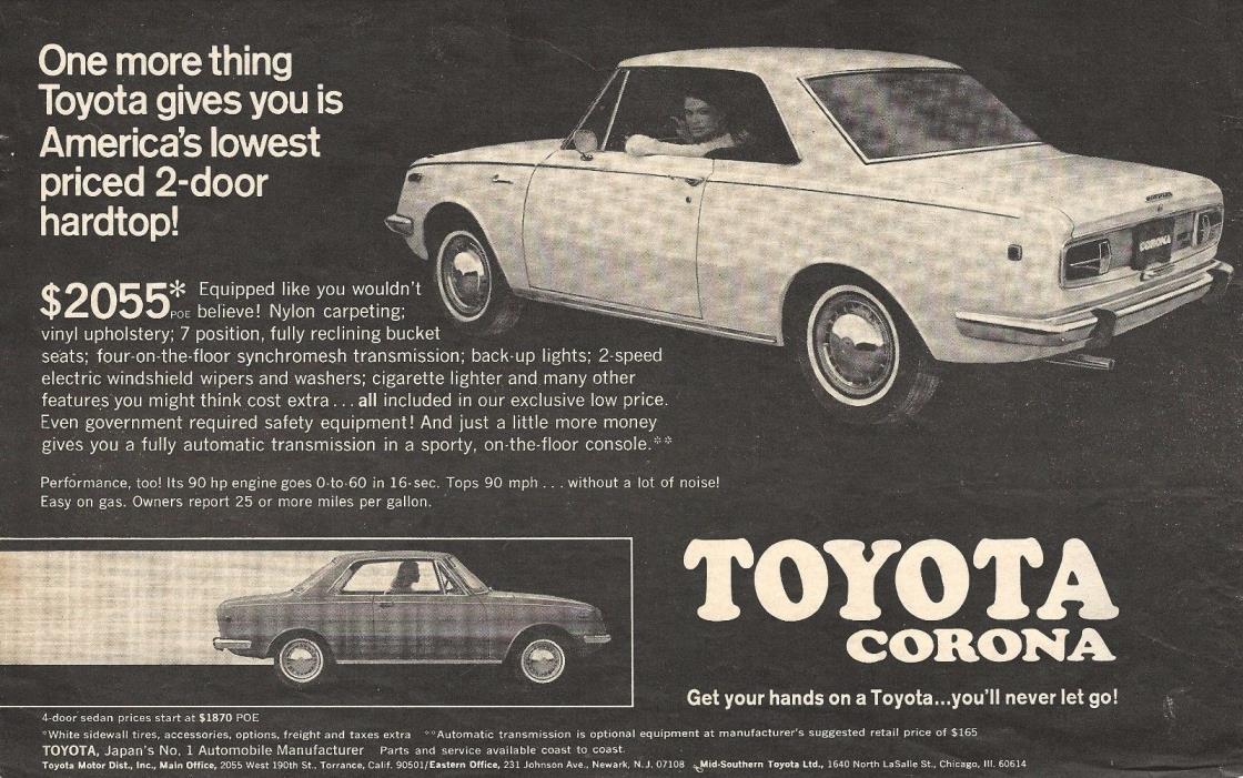 TOYOTA CORONA AUTOMOBILE Original 1968 Vintage Print Ad - Lowest Price 2-Door