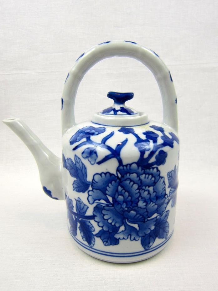 Blue & White Floral Asian Teapot, Nantucket Ceramics