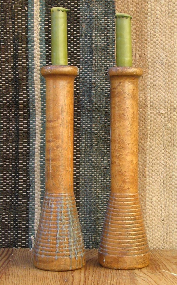 Great Pair! Antique Prim Wooden Spools Bobbin Tiger Maple Birdseye Candlestick