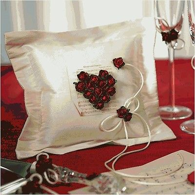 BRAND NEW!  Ring Bearer Red Rose Pillow