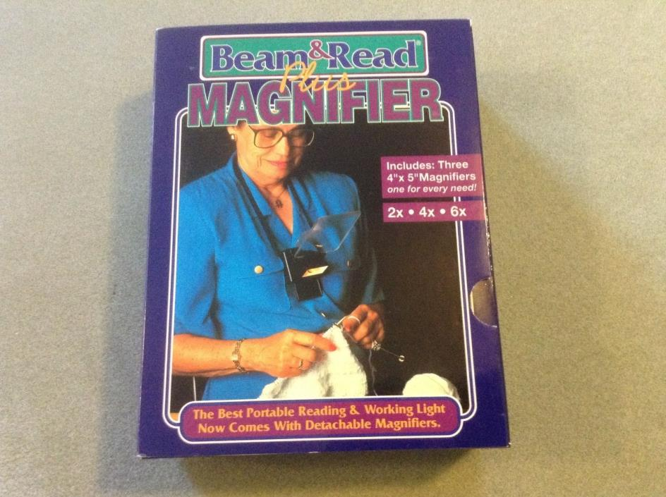 Beam & Read Plus Magnifier - Hands Free Reading Light and Magnifier