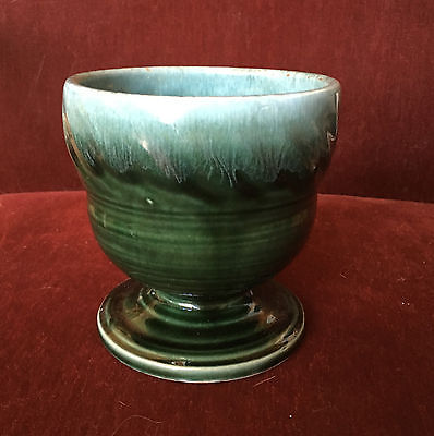 VINTAGE HULL GREEN ART POTTERY PEDESTAL PLANTER F-34