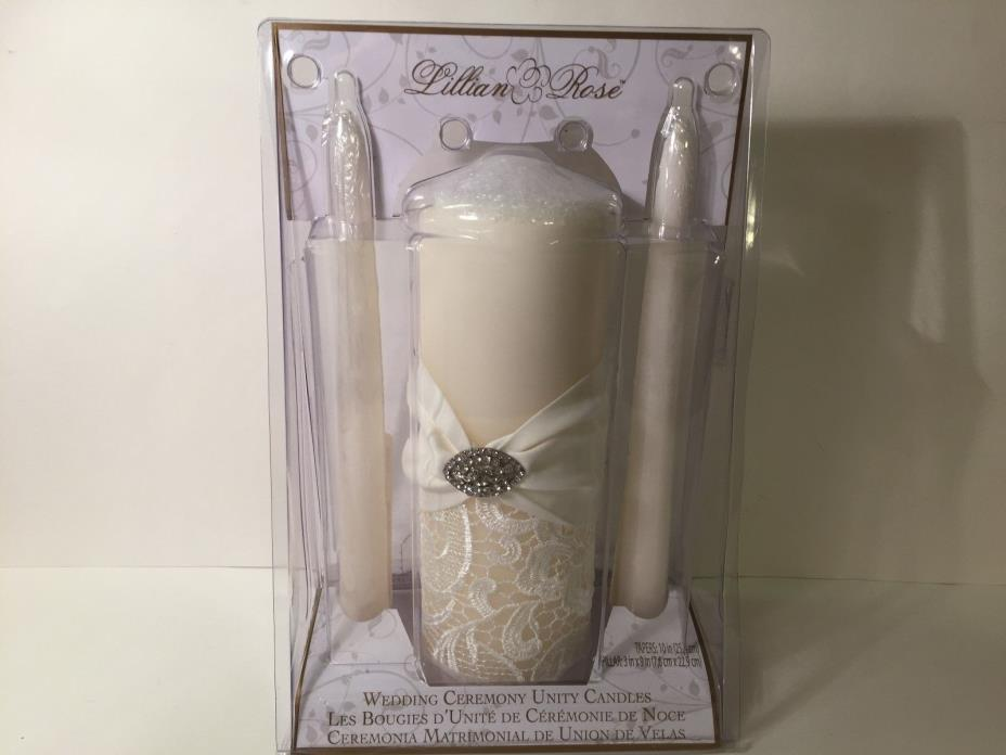 WEDDING CEREMONY UNITY CANDLE SET IVORY LACE-IVORY