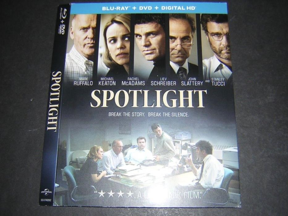 Spotlight Ruffalo Keaton McAdams SLIPCOVER ONLY - NO movie discs blu-ray dvd
