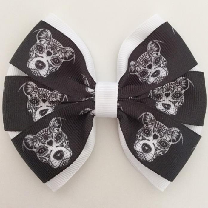Adorable Sugar Skull Pitbull printed hair bow