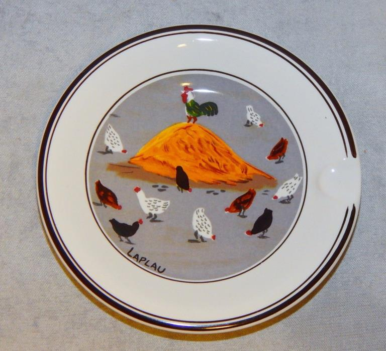 Villeroy & Boch Laplau Rooster and Chickens Country Scene Round Ashtray