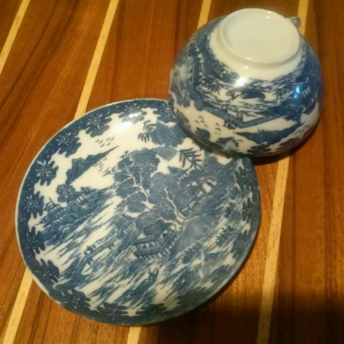 Blue/White Tea cup and saucer