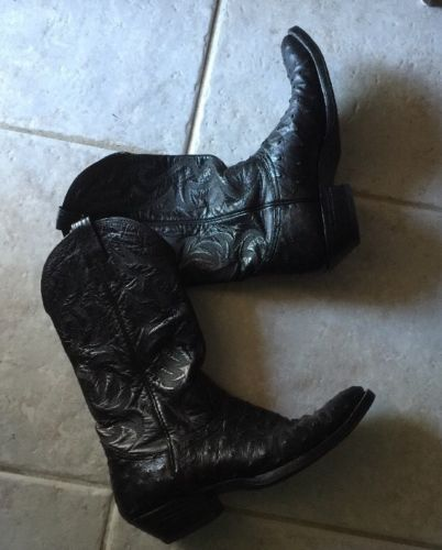 Black Leather Ostrich Boots Size 10