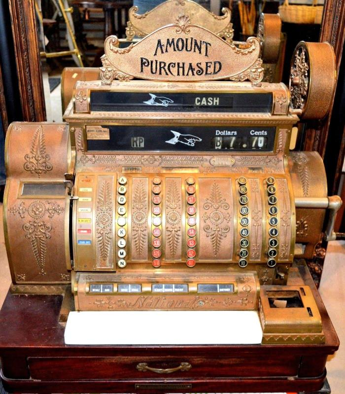 Antique Working National Cash Register Brass Cash Register