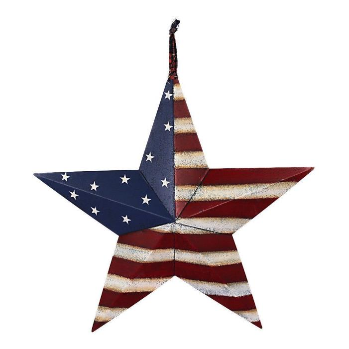 16.5'' July 4th Metal primitive Americana Flag Barn 3D Star Holiday Home Decor