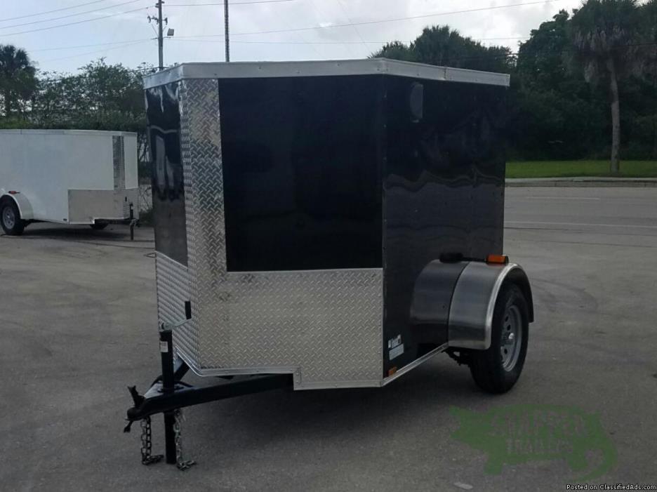 5x6 feet NEW Cargo Trailer (Sharp Looking Black) One Axle& NO Side Door