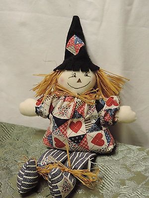 Handmade red, white & blue fabric scarecrow Country decor shelf sitter