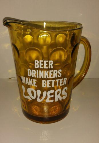Vintage Amber Beer Pitcher