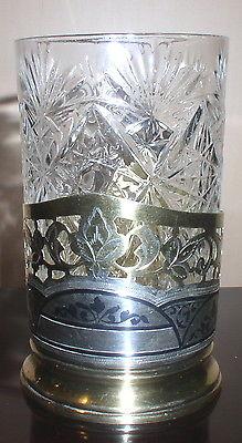 VINTAGE RUSSIAN .875 SILVER  NIELLO TEA GLASS HOLDER WITH GLASS PODSTAKANNIK