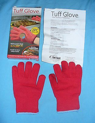 2 Pk Red Tuff Glove Hot Mitts As Seen on TV Grilling & Baking up to 500-Degrees