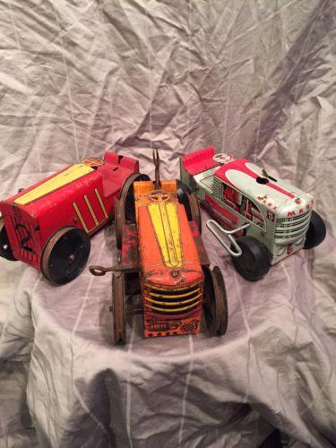 Vintage Antique Mar Toy Wind up Bull Dozer Tin Toys