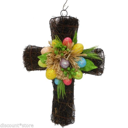 Vintage Easter Decoration Egg Wreath Cross Natural Handmade Home Spring Holiday