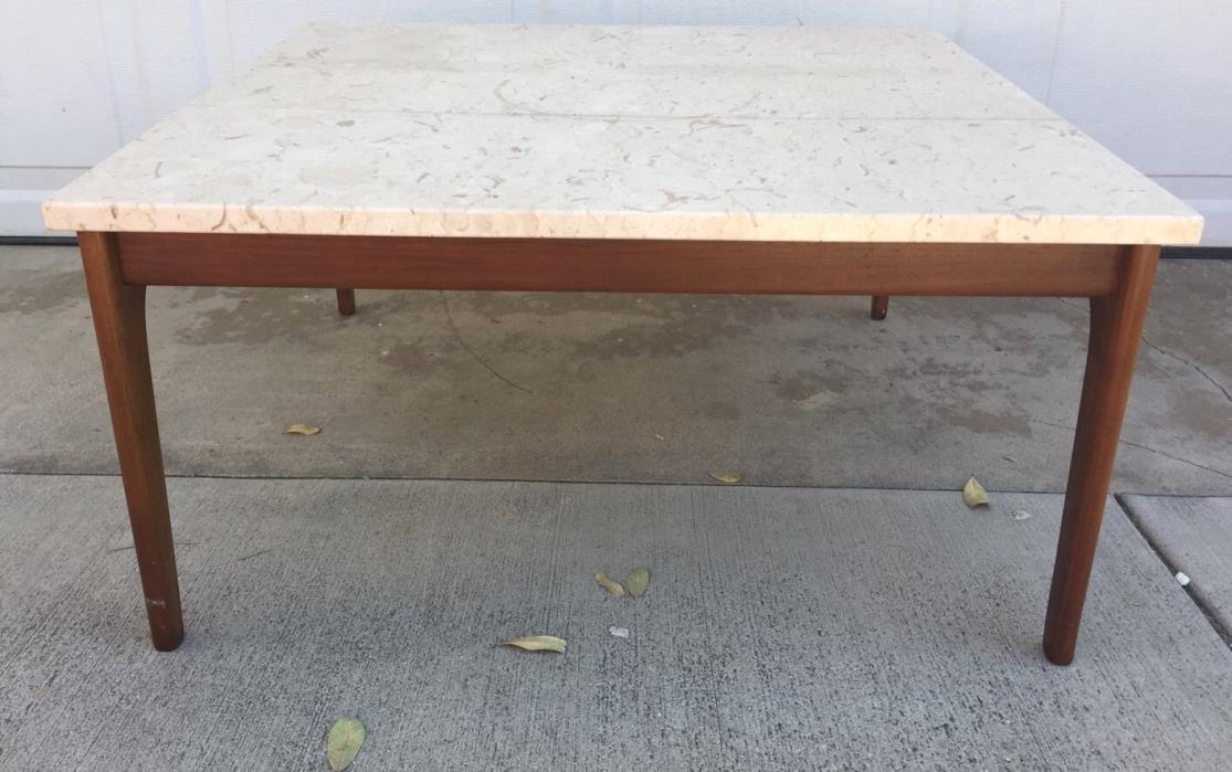 Vintage Travertine Marble Danish MidCentury Modern Teak Wood Square Coffee Table