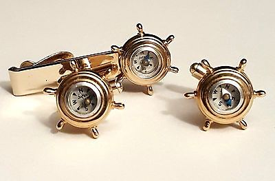 VINTAGE NAUTICAL COMPASS SHIP'S WHEEL CUFFLINKS & TIE CLIP GOLD TONE