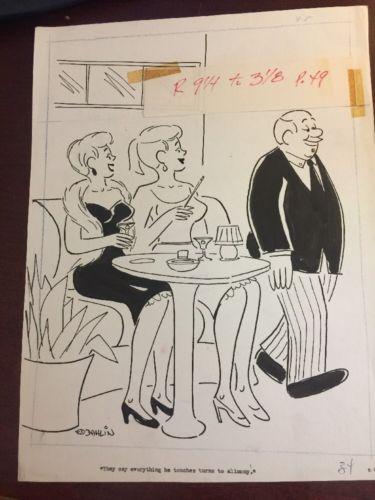 Ed Dahlin ORIGINAL ILLUSTRATION CARTOON COMIC MAGAZINE ART 1963 HUMORAMA Sexty
