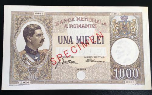 1000 Lei 1934 Specimen Romania Rare Banknote